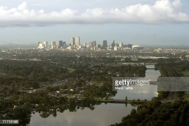 The city skyline is seen with Bayou St John in the foreground August 25 2006 in New Orleans Louisiana The first anniversary of Hurricane Katrina is...