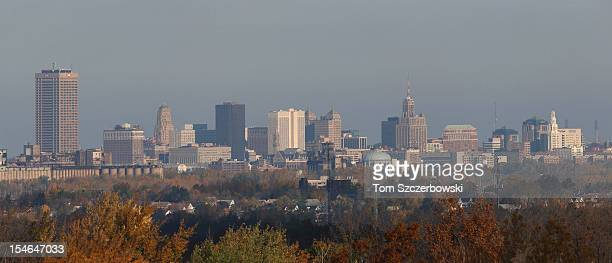 The city skyline of downtown Buffalo viewed from the top deck of Ralph Wilson Stadium before the Buffalo Bills NFL game against the Tennessee Titans...