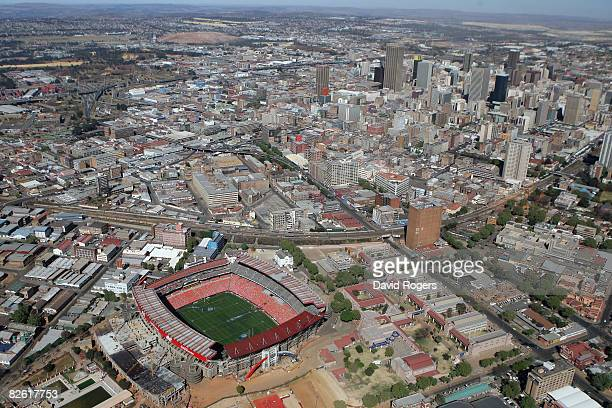 The city skyline rises beyond Ellis Park Stadium, one of the venues for the 2010 Fifa World Cup, on August 31, 2008 in Johannesburg, South Africa.