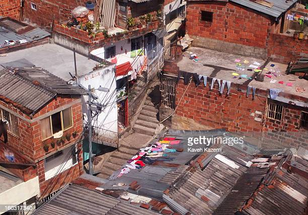 The city slums seen through the window of a cable car on January 5 2013 in Medellin Colombia The notorious slums of Medellin have gone through urban...