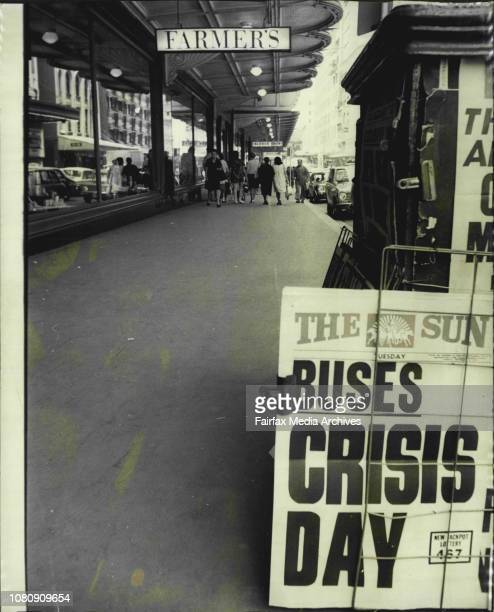 The city streets between 1130 and 1200 noon today as the transport strike discouraged a lot of usual shoppers to shop locally Usually crowded streets...