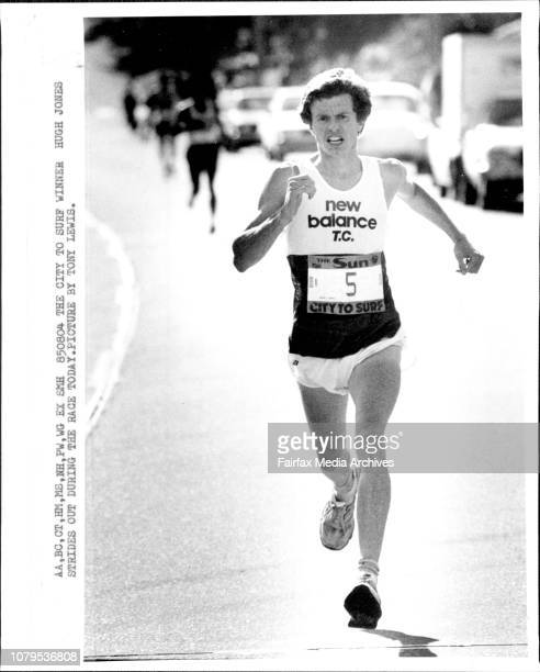 The city to surf winner Hugh Jones strides out during the race todayCity to Surf winner Hugh Jones August 04 1985
