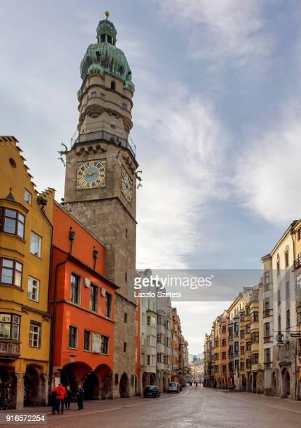 The City Tower is seen at HerzogFriedrichStraße on January 28 2018 in Innsbruck Austria