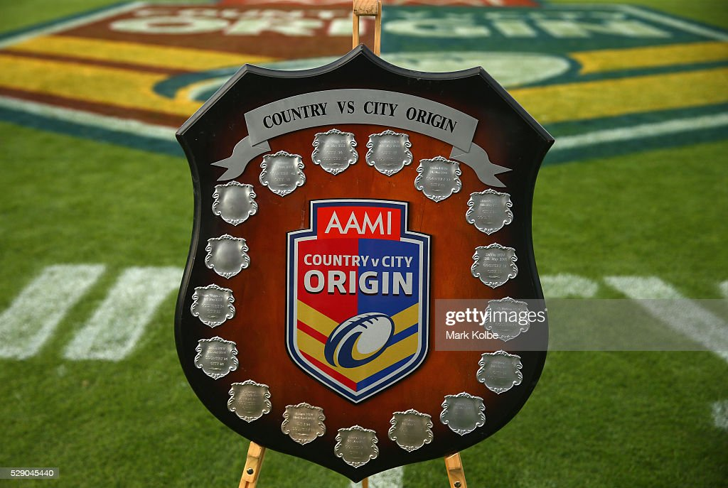 The City Vs Country shield is seen before kick off in the NSW Origin match between City and Country at Scully Park on May 8, 2016 in Tamworth, Australia.