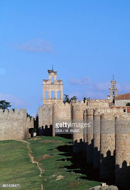 The city walls of Avila with the Gate of El Carmen in the centre Castile and Leon Spain 11th14th century
