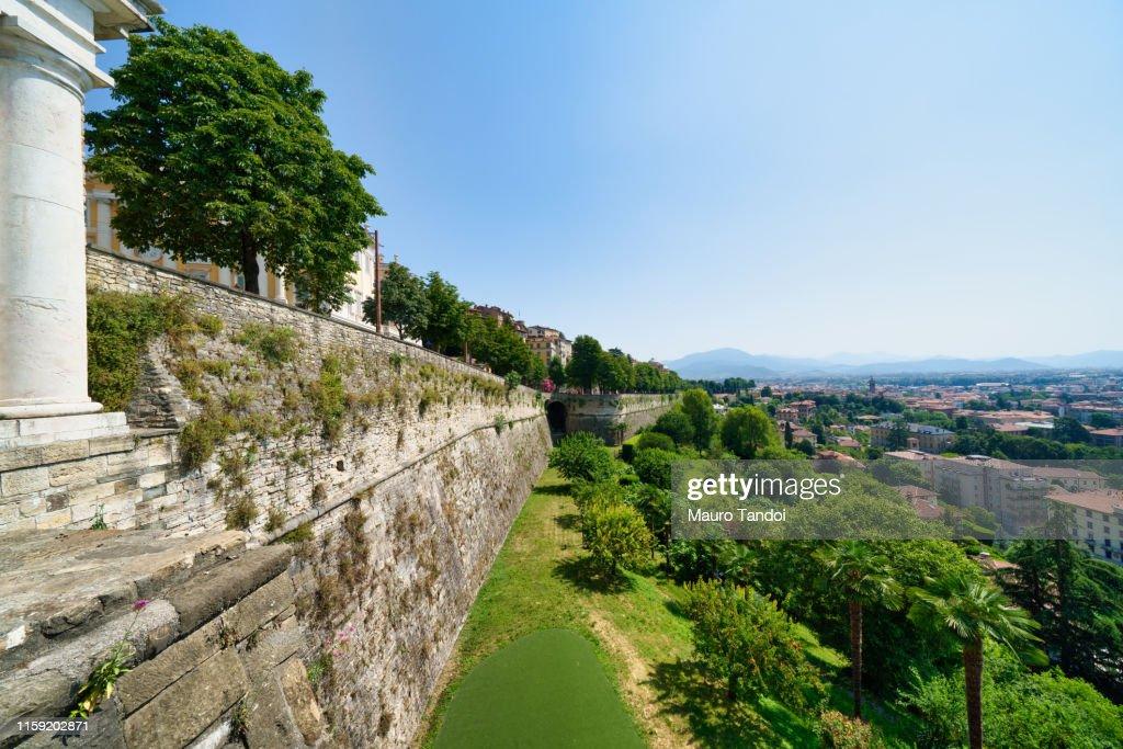 The city walls of Città Alta (Upper town), Bergamo, Italy. : Stock Photo