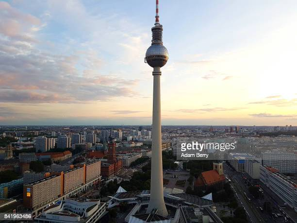 The city's television tower stands on September 2 2017 in Berlin Germany At 368 meters high the tower built in 1965 is the tallest structure in...
