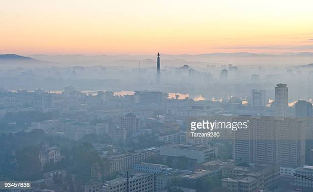 The citysacpe of Pyongyang in morning mist