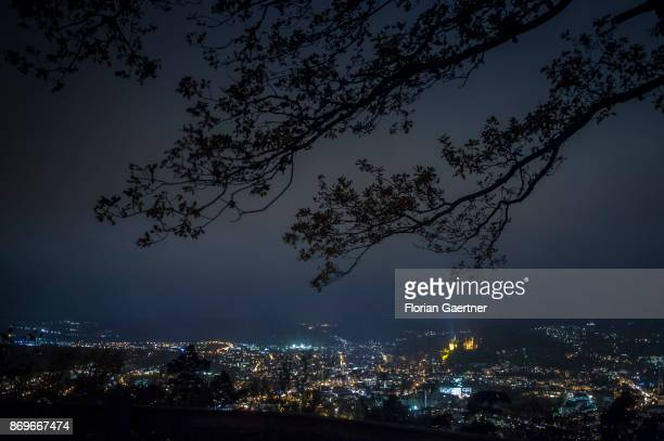 The cityscape and the castle of Marburg are pictured in the evening on October 28 2017 in Marburg Germany