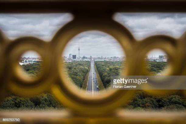 The cityscape of Berlin is pictured from the victory column on October 07 2017 in Berlin Germany