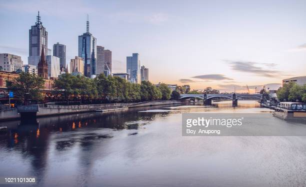 the cityscape of melbourne at dawn. victoria state of australia. - ヤラ川 ストックフォトと画像