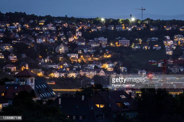 The cityscape of Stuttgart is pictured during blue hour on July 14, 2021 in Stuttgart, Germany.