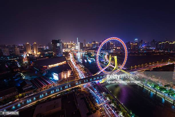 The Cityscape of Tianjin Eye and Tianjin Urban Skyline at night