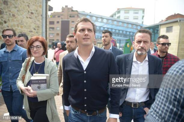 The Ciudadanos candidate to the European Parliament Maite Pagazaurtundua the leader of Ciudadanos Albert Rivera and the deputy of Ciudadanos Edmundo...