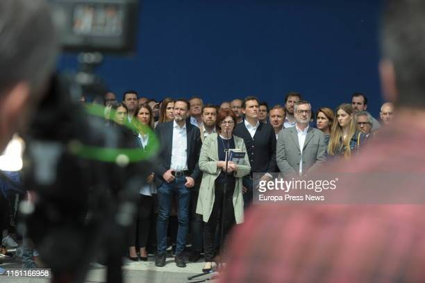 The Ciudadanos candidate to the European Parliament Maite Pagazaurtundua the leader of Ciudadanos Albert Rivera the secretary general of Ciudadanos...