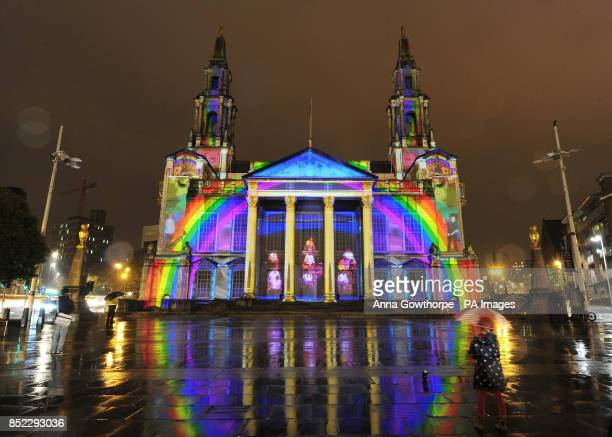 The Civic Hall in Leeds city centre is lit up by a giant outdoor projection entitled 'Momentous' by international artist group Illuminos who have...