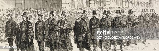 The civic procession from the Town Hall to the new free public library Leeds United Kingdom illustration from the magazine The Graphic volume XXIX n...
