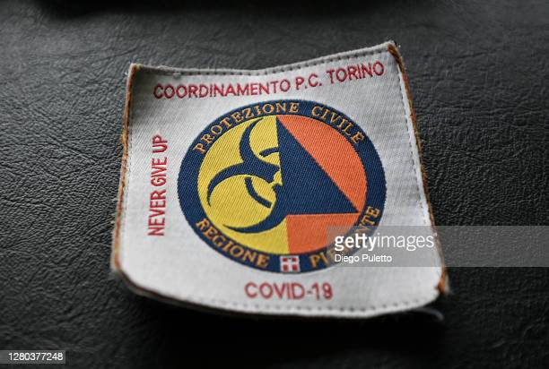 The civil protection logo intended for personnel fighting coronavirus on October 15 2020 in Turin Italy The Emergency Piedmont Civil Protection train...