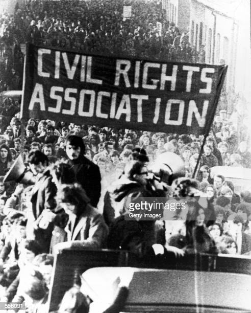 """The Civil Rights Association lead a march January 31, 1972 in Londonderry, Northern Ireland, a day after """"Bloody Sunday,"""" when British paratroopers..."""
