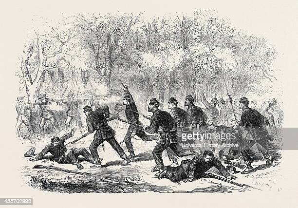 The Civil War In America: The Fight At Ball's Bluff, Upper Potomac, Desperate Effort Made By The 15th Massachusetts Regiment To Clear The Woods By A...