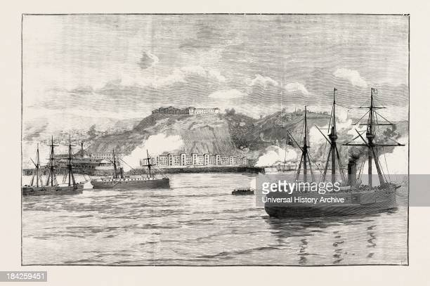 The Civil War In Chile Hostilities At Valparaiso Exchange Of Shots Between Shore Batteries And Chilian Ironclad Blanco Encalada 1891
