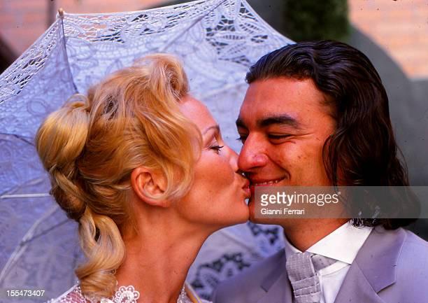 The civil wedding of French actress and dancer Marlene Mourreau with Cuban dancer Michel Guevara Twenty Second June 2000 Madrid Castilla La Mancha...