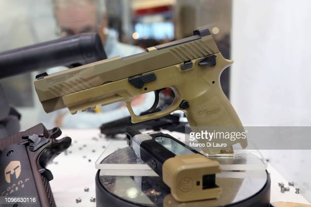 The civilian version of the Sig Sauer M17 is seen at the HIT Trade Show on February 9 2019 in Vicenza Italy After one of the most rigorous and highly...