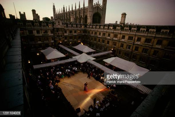 The Clare College May Ball, with King's College Chapel beyond, at Cambridge University, England, 11th May 1993. This image is from a series of social...