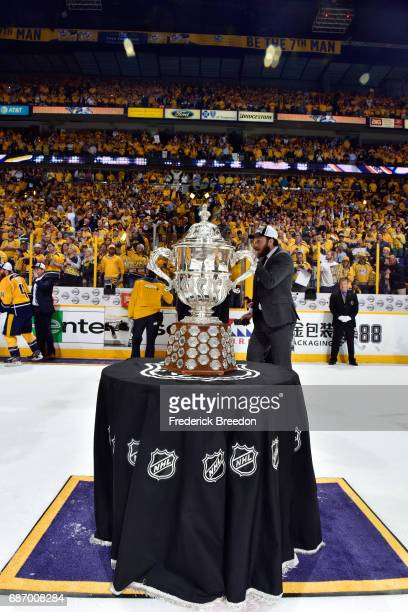 The Clarence S Campbell Bowl is displayed after the Nashville Predators defeated the Anaheim Ducks 6 to 3 in Game Six of the Western Conference Final...