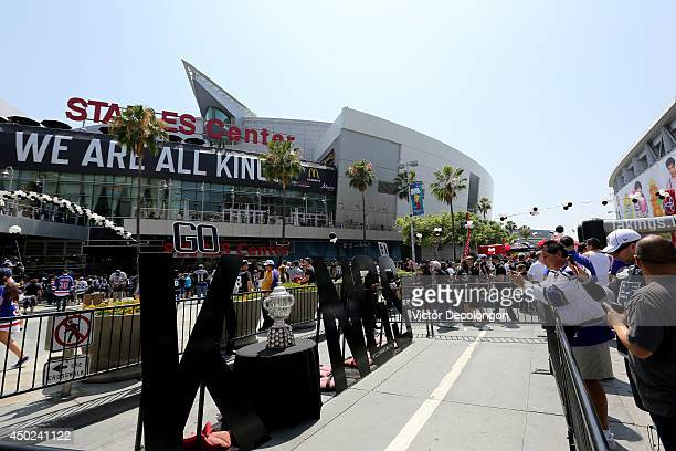 The Clarence S Campbell Bowl is seen outside Staples Center before the Los Angeles Kings take on the New York Rangers in Game Two of the 2014 NHL...