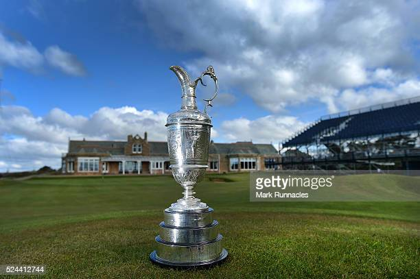 The Claret Jug in front of The Royal Troon Club House during the Open Championship Media Day at Royal Troon on April 26 2016 in Troon Scotland