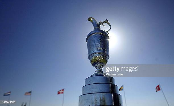 The Claret Jug is displayed on the first tee box during first round qualifications of the British Open on January 8 2004 at the Atlantic Beach Golf...