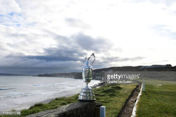 The Claret Jug is pictured at Royal Portrush Golf Club during a media event on April 2, 2019 in Portrush, Northern Ireland. The Open Championship...
