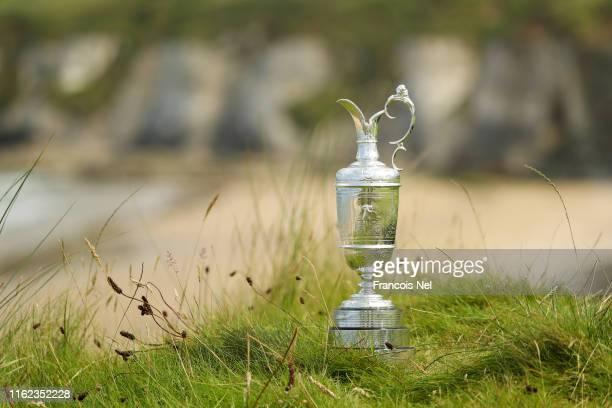 The Claret Jug is seen during a practice round prior to the 148th Open Championship held on the Dunluce Links at Royal Portrush Golf Club on July 16,...