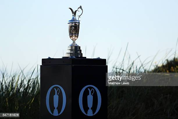 The Claret Jug on display on the 1st tee during the first round on day one of the 145th Open Championship at Royal Troon on July 14 2016 in Troon...