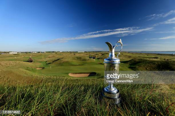 """The Claret Jug photographed from the """"Maidens' hill above the par 3, sixth green at the host venue for the The Open to be held at Royal St George's..."""