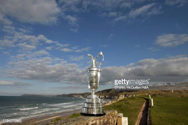 The Claret Jug presented to the winner of The Open Championship is pictured at Royal Portrush Golf Club on April 1, 2019 in Portrush, Northern...