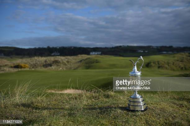 The Claret Jug presented to the winner of The Open Championship is pictured at Royal Portrush Golf Club on April 1 2019 in Portrush Northern Ireland...