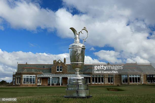 The Claret Jug sits on one of the greenside bunkers at the patr 4 18th hole during the Open Championship Media Day at Royal Troon Golf Club on April...