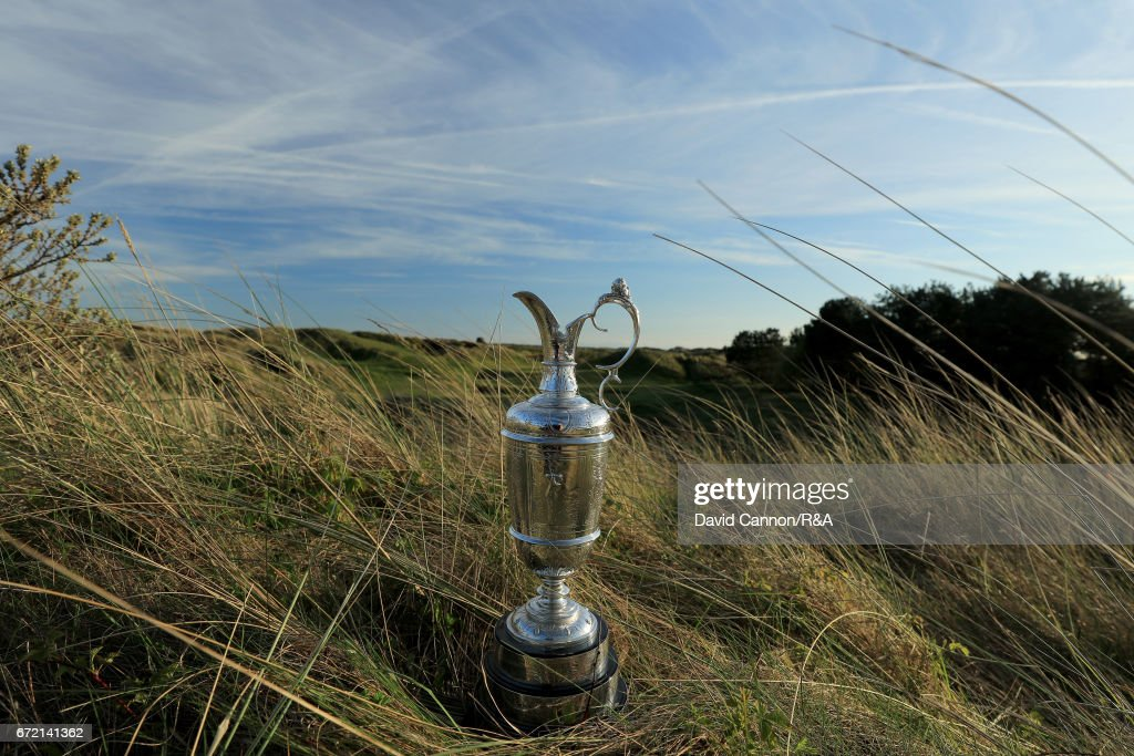 The Claret Jug, the Open Championship trophy, at the par 3, 12th hole at Royal Birkdale Golf Club, the host course for the 2017 Open Championship on April 23, 2017 in Southport, England.