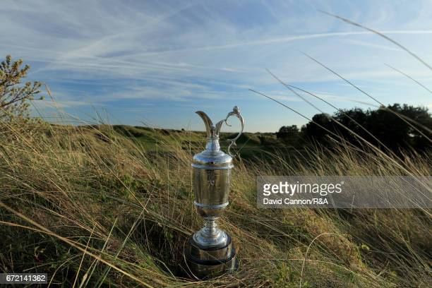 The Claret Jug the Open Championship trophy at the par 3 12th hole at Royal Birkdale Golf Club the host course for the 2017 Open Championship on...