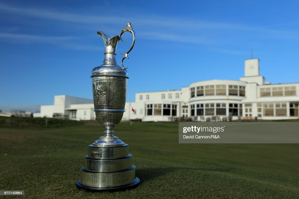 The Claret Jug, the Open Championship trophy, in front of the 18th green with the clubhouse behind at Royal Birkdale Golf Club, the host course for the 2017 Open Championship on April 23, 2017 in Southport, England.