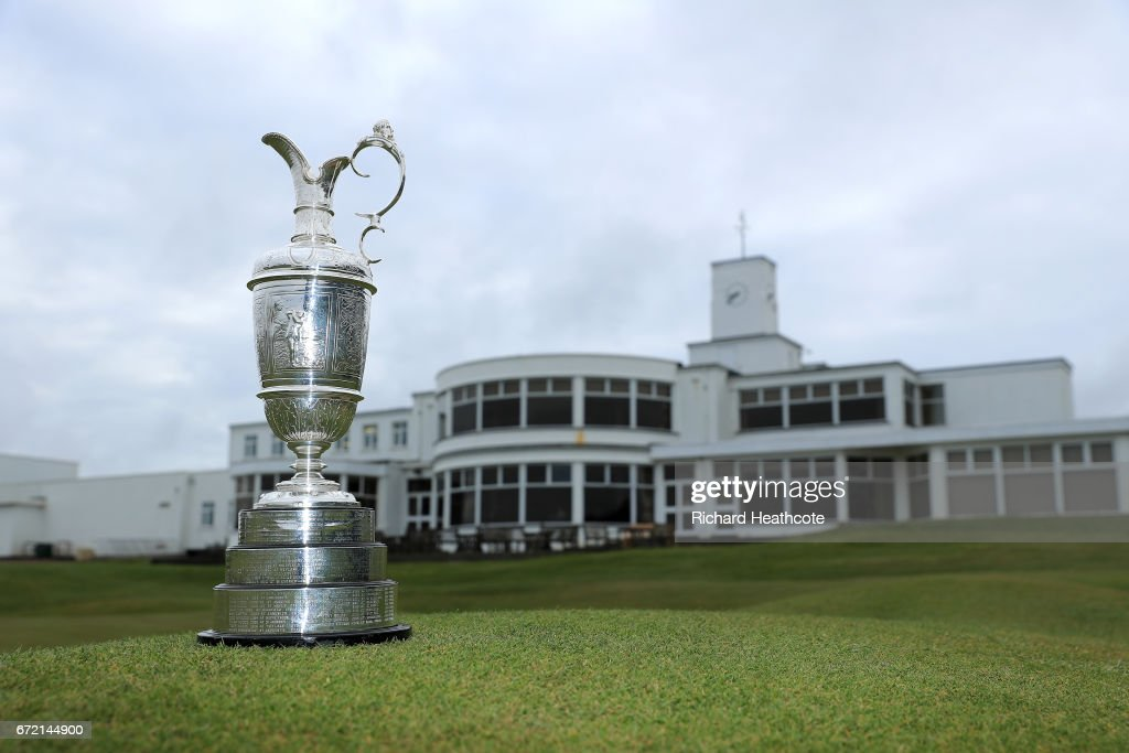 The Claret Jug, the Open Championship trophy, in front of the clubhouse at Royal Birkdale Golf Club, the host course for the 2017 Open Championship during a Media day for the 146th Open Championship on April 24, 2017 in Southport, England.
