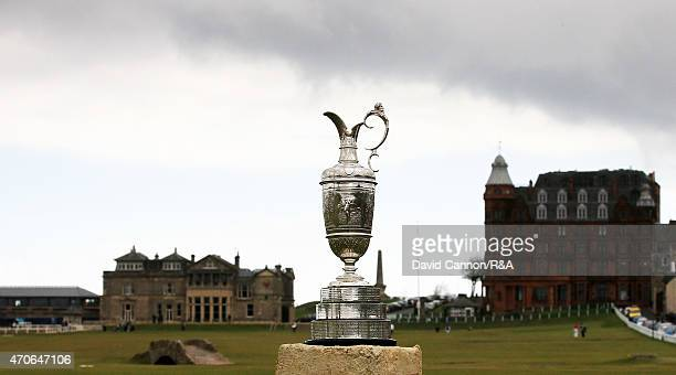 The Claret Jug the Open Championship trophy on the 18th hole on the Old Course At St Andrews the venue for the 2015 Open Championship in St Andrews...