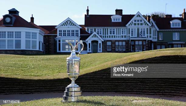 The Claret Jug trophy beside the 18th green in front of the clubhouse during The Open Championship media day at Muirfield on April 29 2013 in Gullane...
