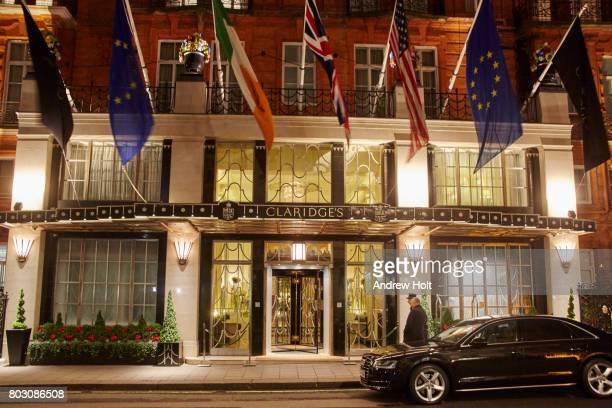 The Claridges Hotel at night.