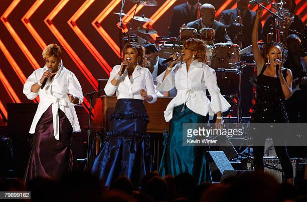 The Clark Sisters Jacky Clark Chisholm Dorinda Clark Cole and Karen Clark Sheard perform onstage during the 50th annual Grammy awards held at the...