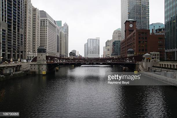 The Clark Street bridge over the Chicago River as seen from West of downtown Chicago in Chicago Illinois on FEB 17 2011