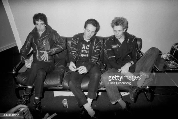 The Clash being interviewed backstage at The Rainbow Theatre, Finsbury Park, London, May 9th 1977. L-R Mick Jones, Joe Strummer, Paul Simonon.