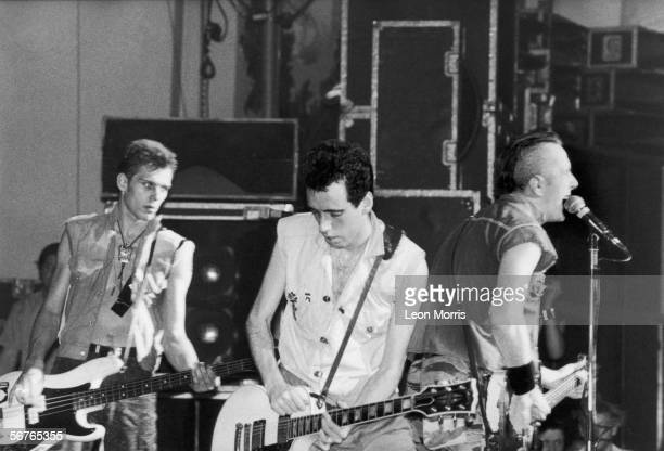 The Clash in concert 1982 From left to right Paul Simonon Mick Jones and Joe Strummer